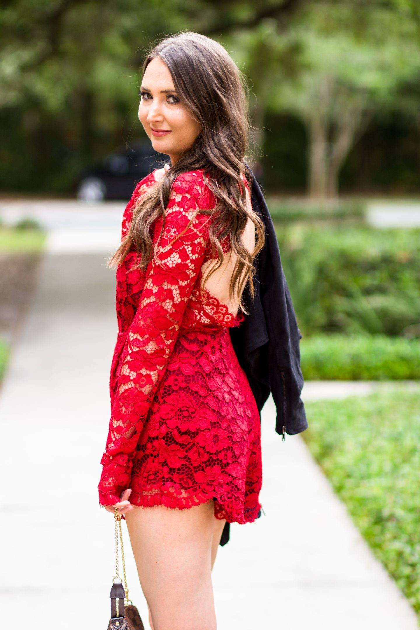 red lace romper, lovers + friends, red outfit, lace romper
