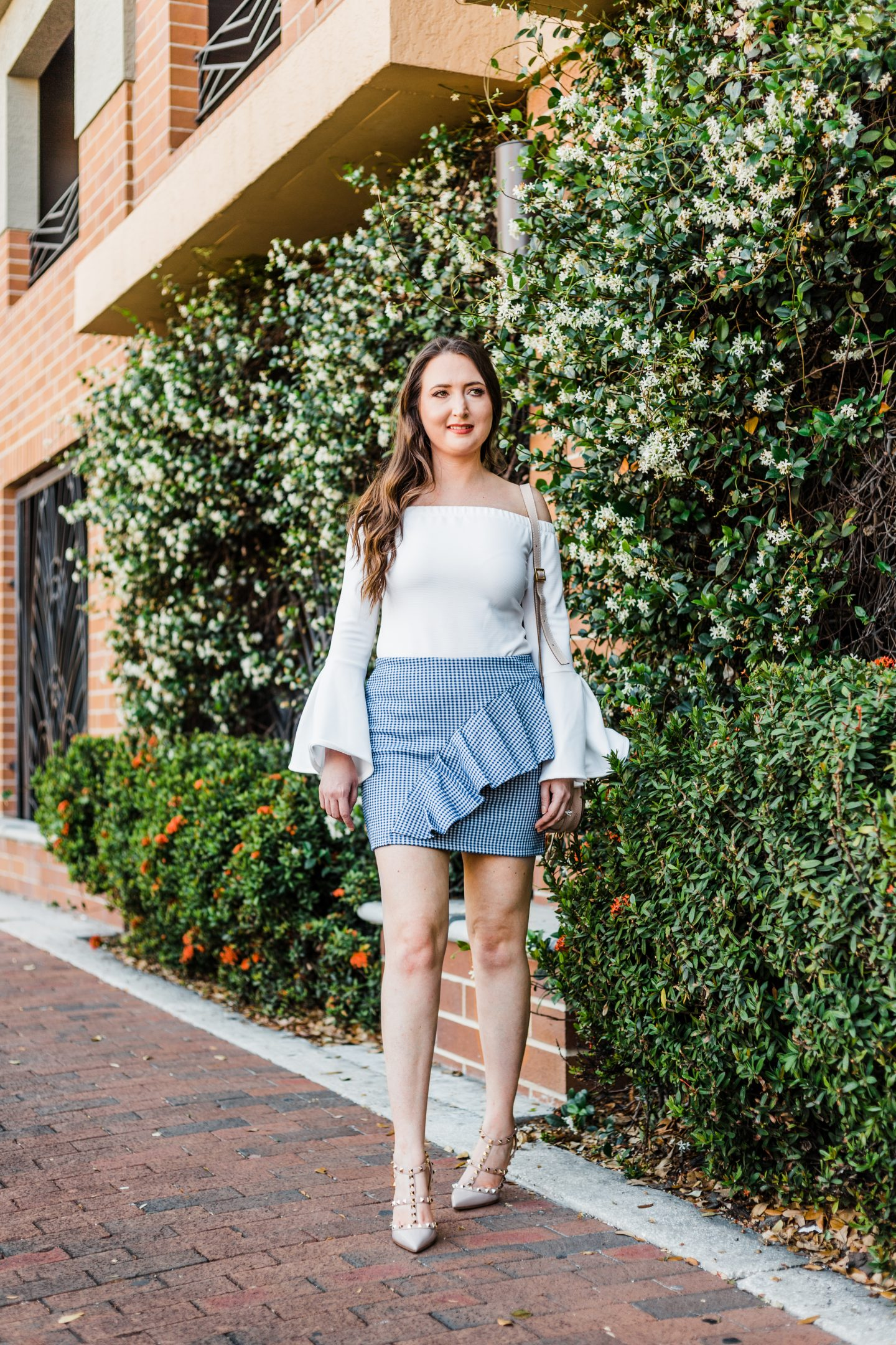 gingham, gingham skirt, ruffles, bell sleeve top, topshop, J.O.A. top, valentino rockstud, chloe marcie mini