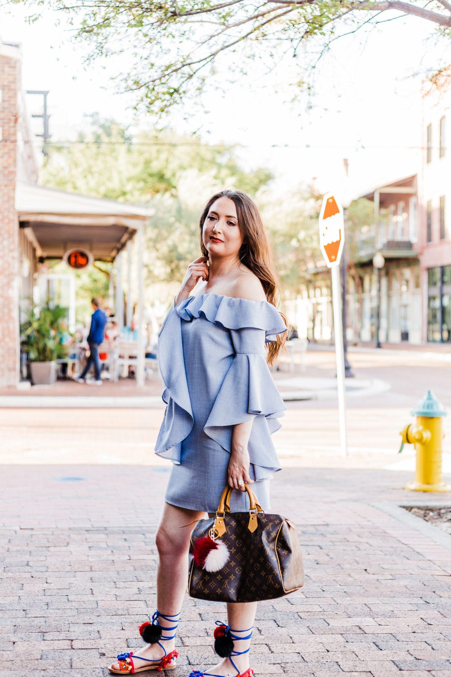 Wayf ruffle dress feat pom pom sandals
