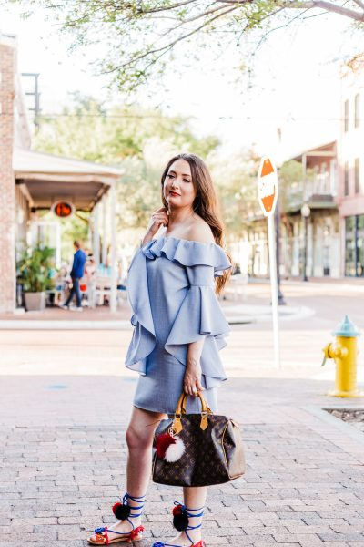 Wayf ruffle dress feat pom pom sandals
