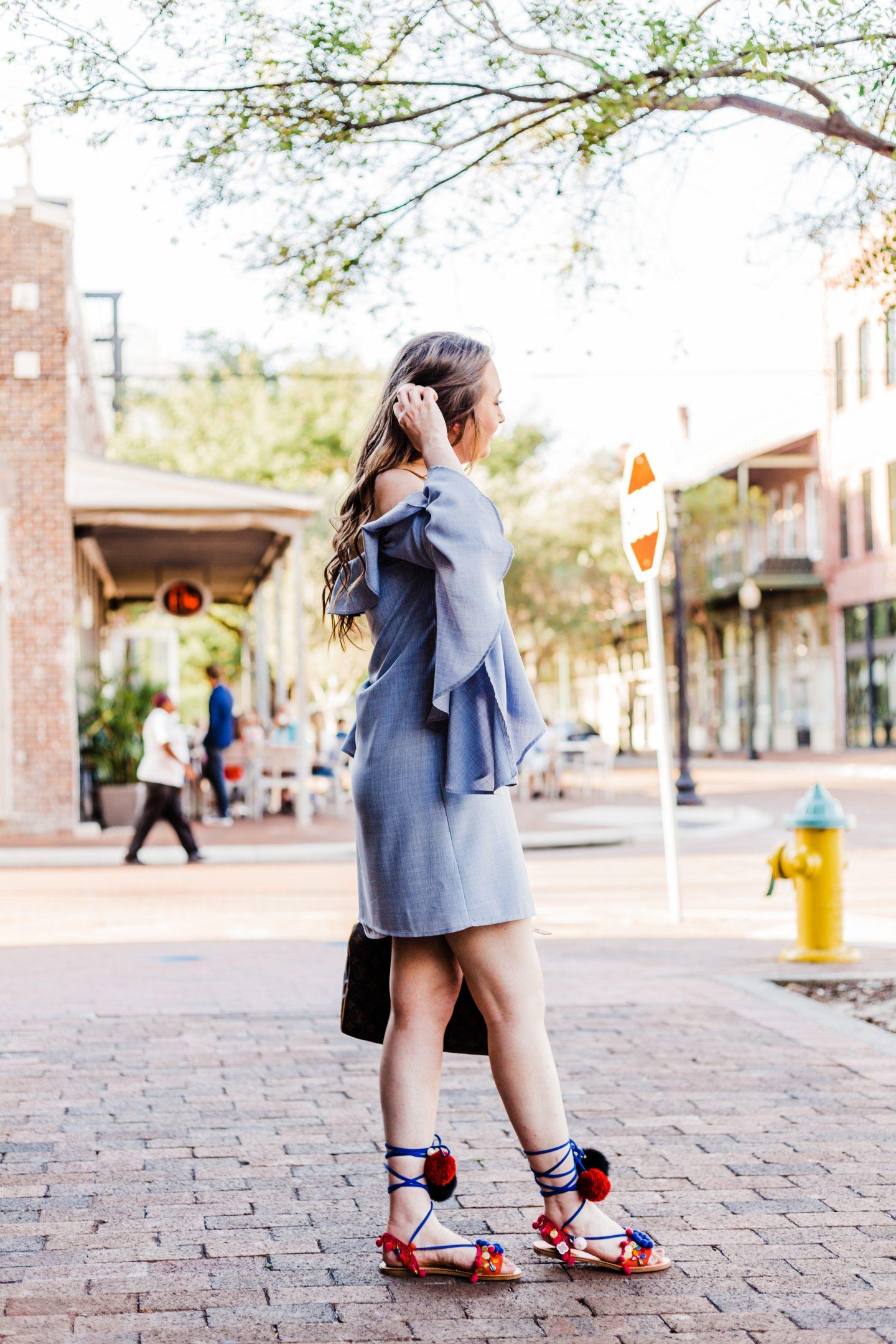 wayf ruffle dress, pom pom sandals, louis vuitton speedy 30, WAYF,