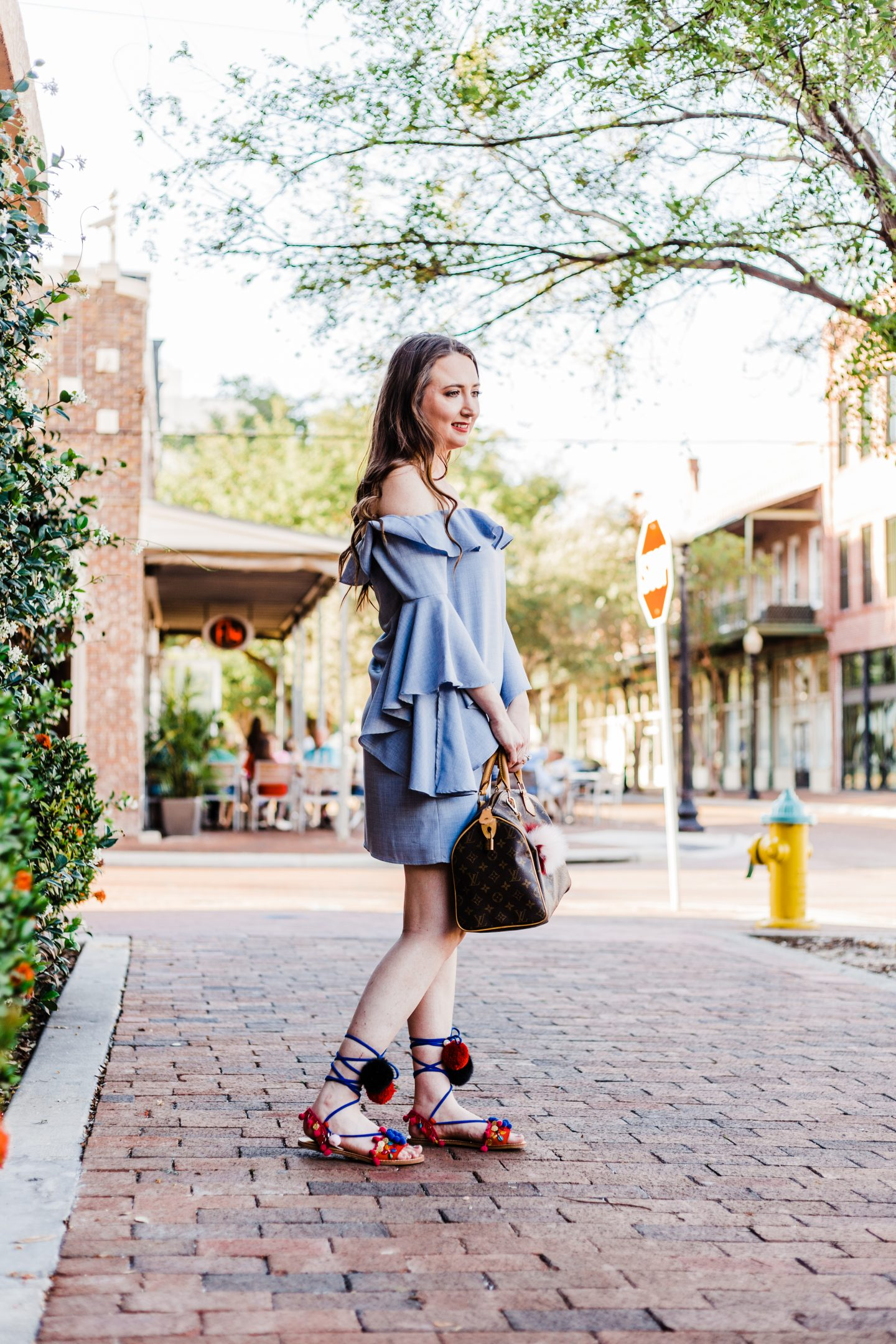 wayf ruffle dress, pom pom sandals, louis vuitton speedy 30, WAYF,