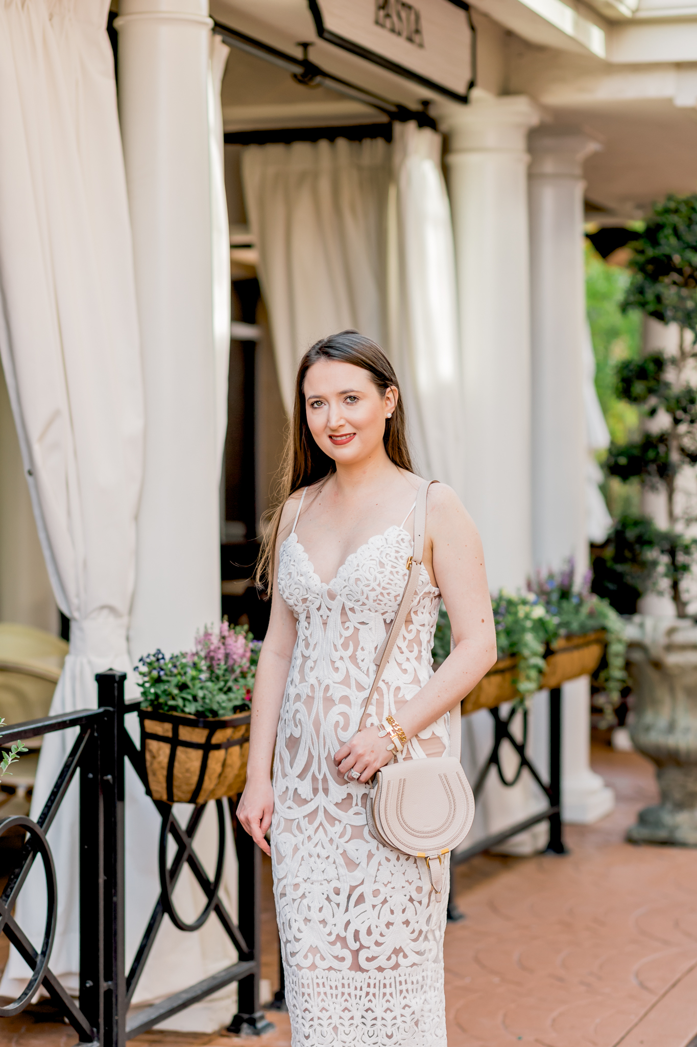 The perfect bachelorette dress: White lace & Red bottoms