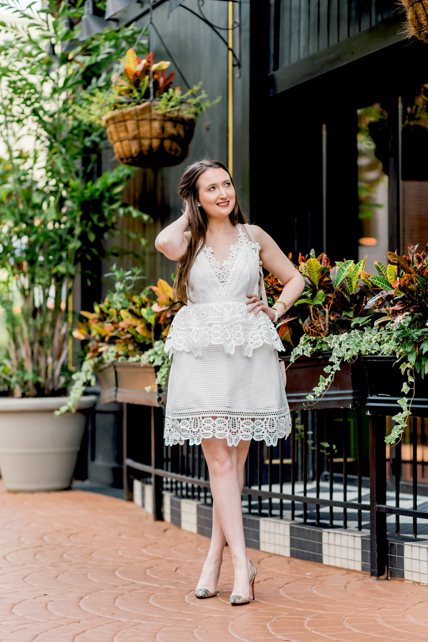 peplum dress, white dress, self-portrait, self-portrait dress, self-portrait peplum dress, chloe marcie mini, christian louboutin, louboutin glitter heels