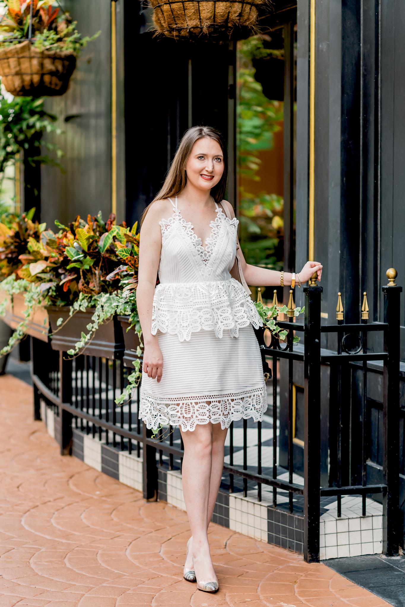 peplum dress, white dress, self-portrait, self-portrait dress, self-portrait peplum dress, chloe marcie mini, christian louboutin, louboutin glitter heels
