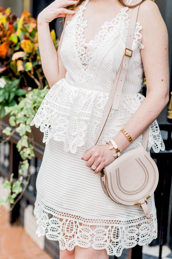 Summer Lovin': Peplum lace dress and glitter heels