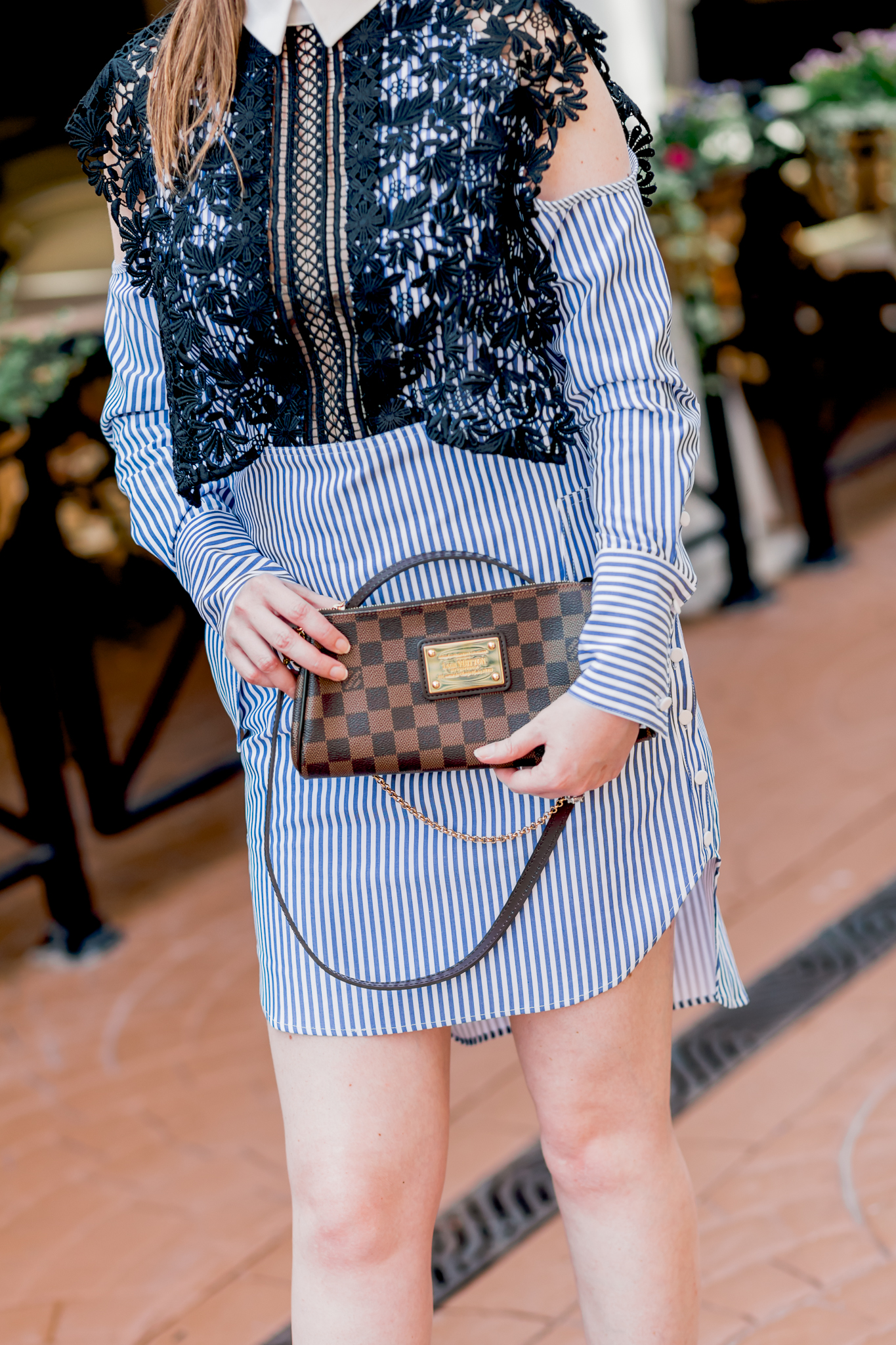 louis vuitton, louis vuitton eva clutch damier ebene, self- portrait, self portrait dress, self portrait cold shoulder shirtdress, shirtdress, blue and white shirtdress, self-portrait shirtdress