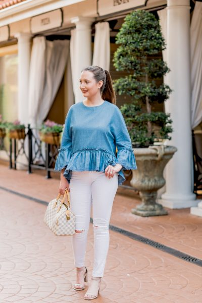 How To Style White Jeans With 5 Simple Outfits, chambray, chambray top, white denim, white ripped jeans, stuart weitzman barely nude, louis vuitton speedy 25, damier azur, topshop jamie jeans