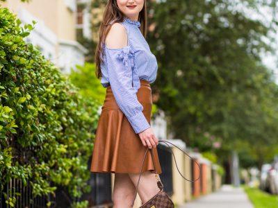 Summertime denim colors and espadrilles, summer fashion, striped top, cognac skirt, leather skirt, tory burch dandy espadrilles, louis vuitton eva clutch, mini skirt, summer outfit,