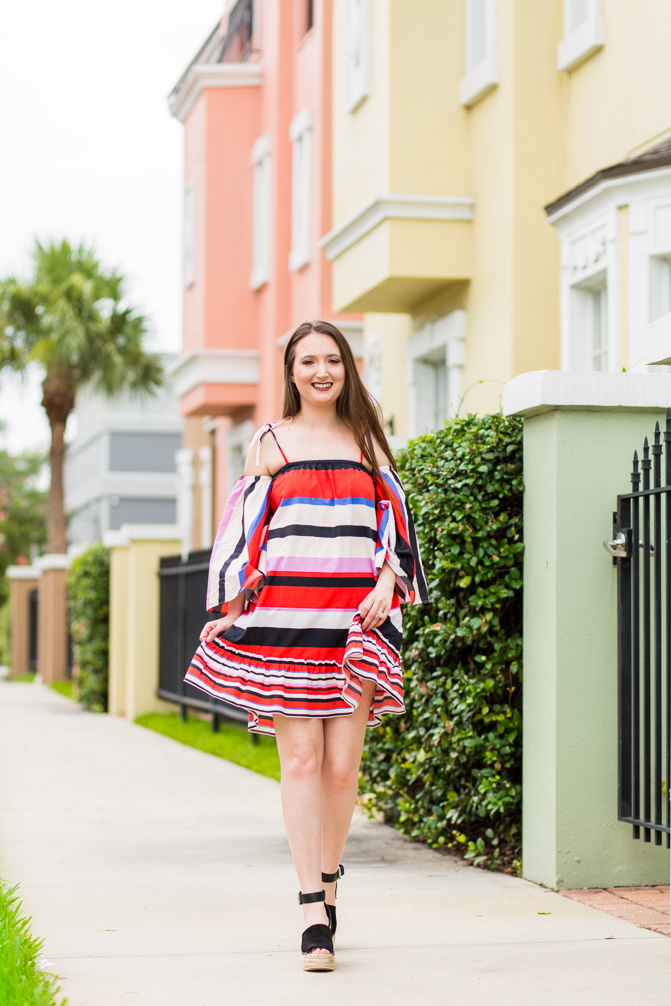 fun dress, nicholas amalfi dress, vacation dress, holiday dress, summer dress, marc fisher wedges, striped dress, multicolor striped dress