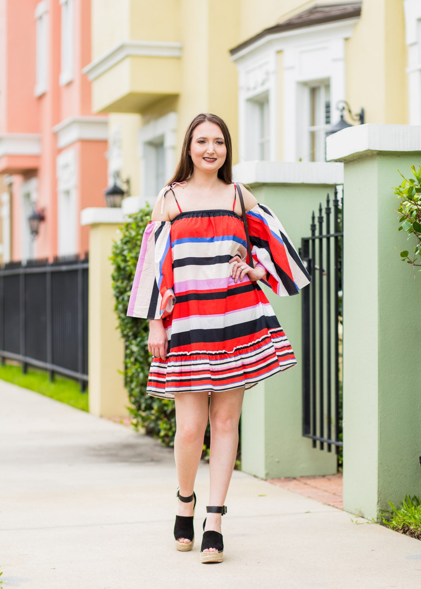 nicholas amalfi dress, striped dress, marc fisher wedges, summer outfit