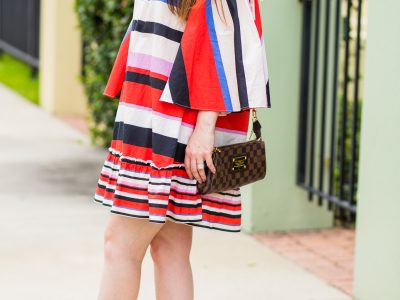 nicholas dress, marc fisher wedges, nicholas amalfi dress, striped dress, comfortable wedges, bright dress