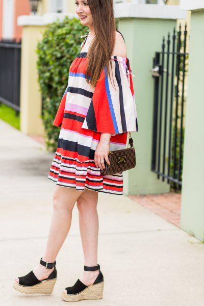 nicholas dress, marc fisher wedges, nicholas amalfi dress, striped dress, comfortable wedges, bright dress