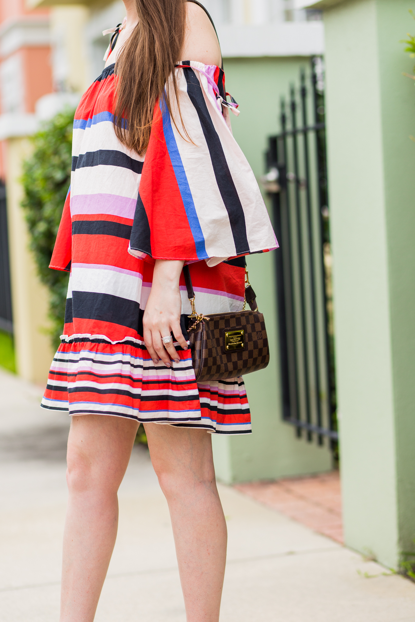 nicholas dress, nicholas amalfi dress, striped dress, summer dress, bright color dress, multicolor striped dress, eva clutch, damier ebene