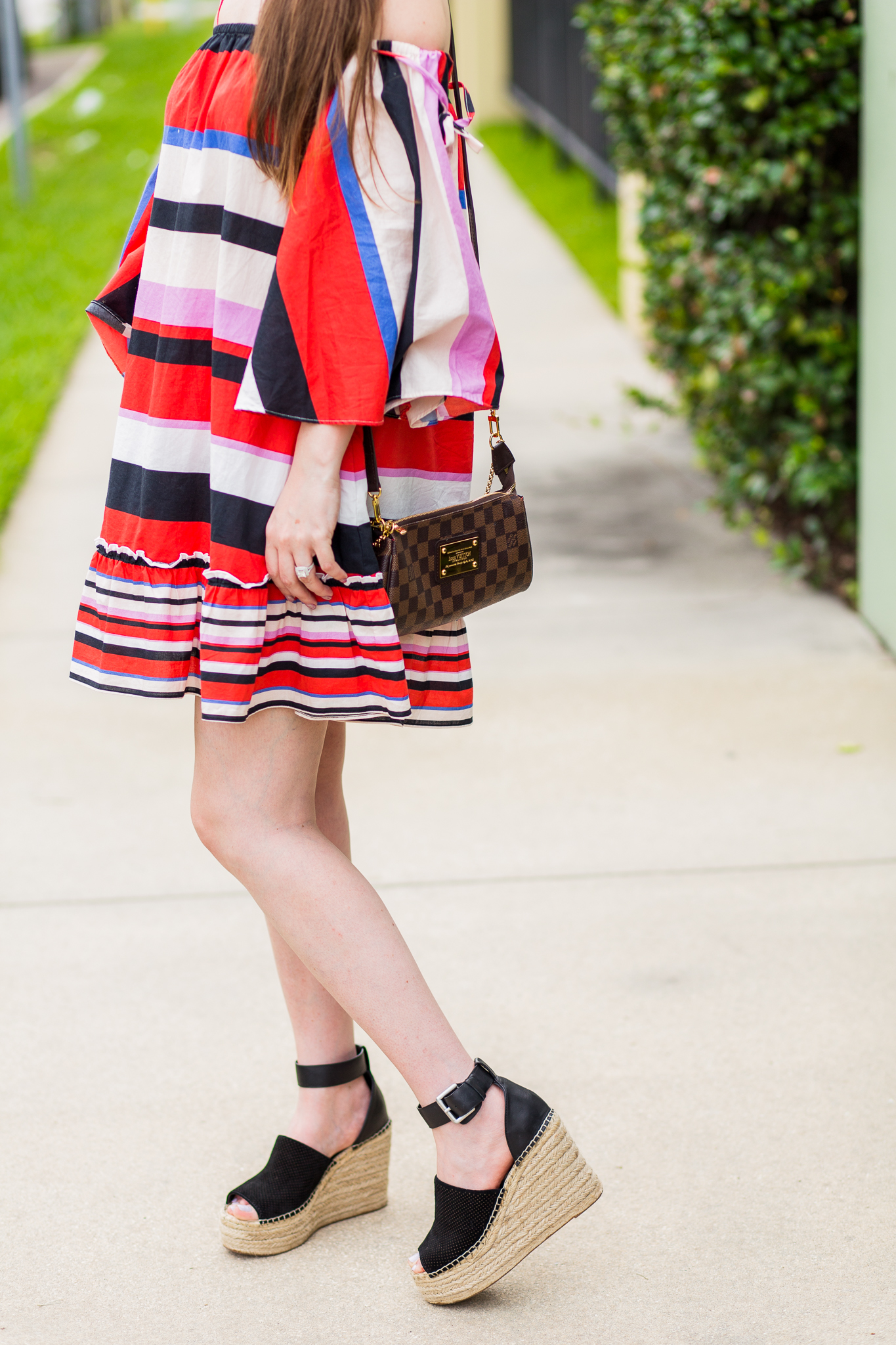 marc fisher black wedges, nicholas amalfi dress, n/nicholas, striped dress, multicolor striped dress, summer dress, casual, red and black dress