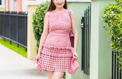 self portrait crosshatch Frill Mini Dress, Pink Crosshatch Frill Mini Dress, Pink Self-Portrait Crosshatch Frill Mini Dress, pink dress, pink ruffle dress, self portrait dress, self portrait pink dress, gucci bag, gucci pink bag, valentino rockstud heels, summer fashion, summer dress, cocktail attire, cocktail dress, self-portrait