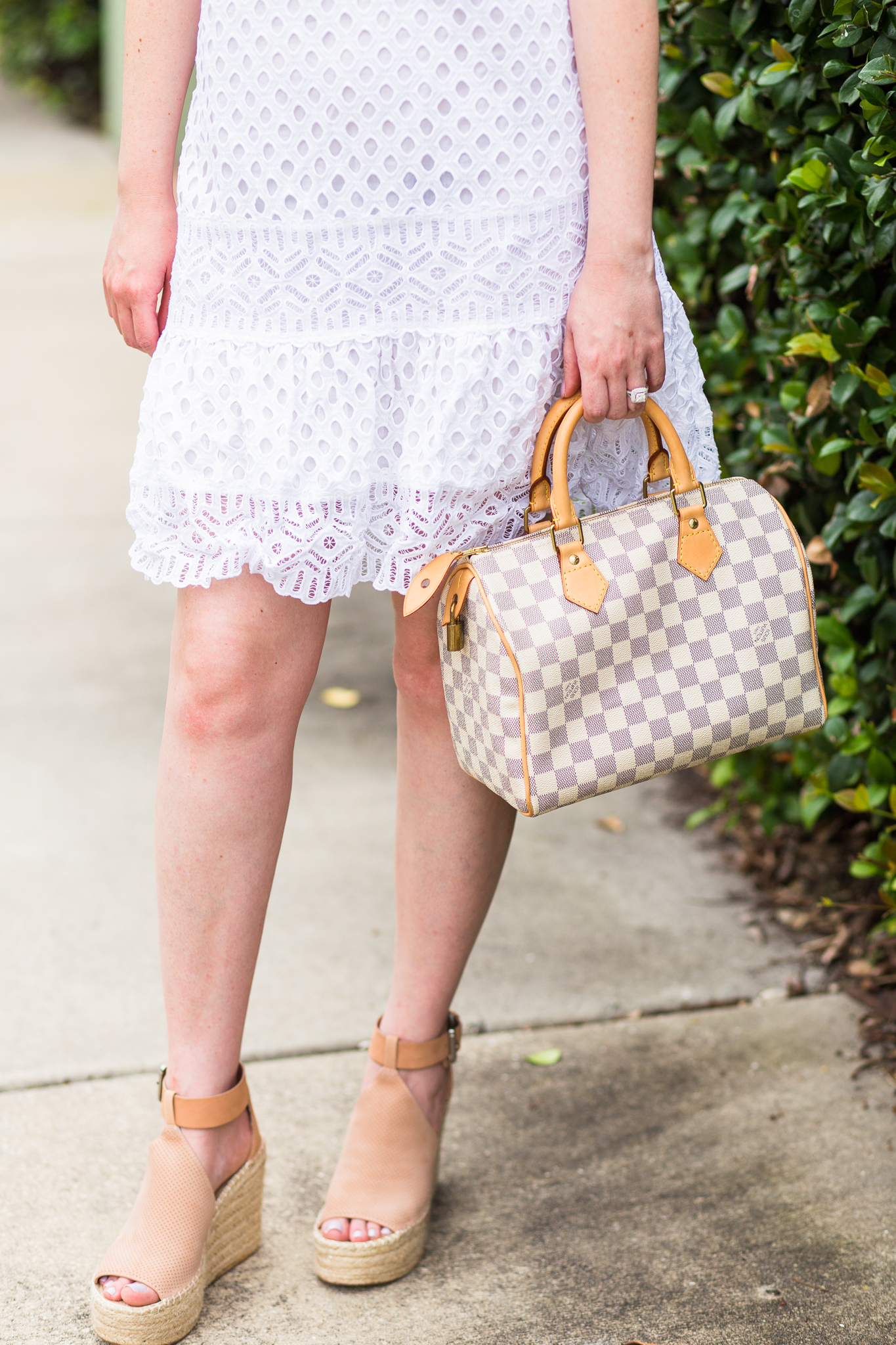 Tory Burch one shoulder eyelet dress, Tory Burch Zoe dress, Marc fisher annie wedges, eyelet dress, summer dress, summer fashion