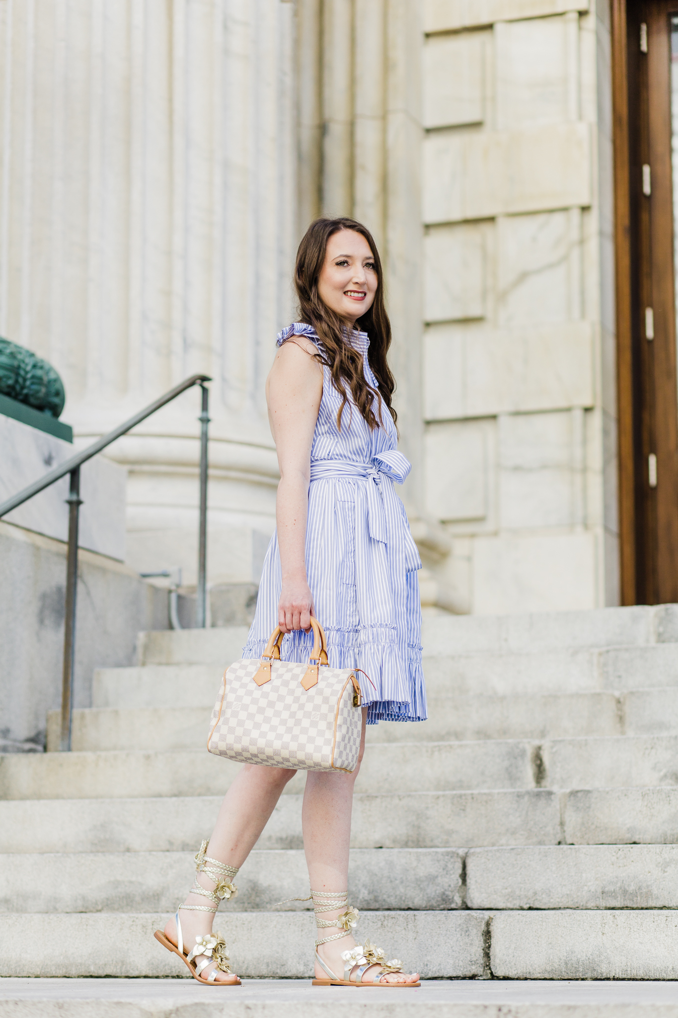FUN AND FLIRTY PLEATED PINSTRIPE DRESS, Alexis briley dress, Louis Vuitton speedy 25 damier azur, Tory Burch blossom gladiators, pinstripe dress, summer dress, summer fashion, blue and white striped dress, alexis dress,
