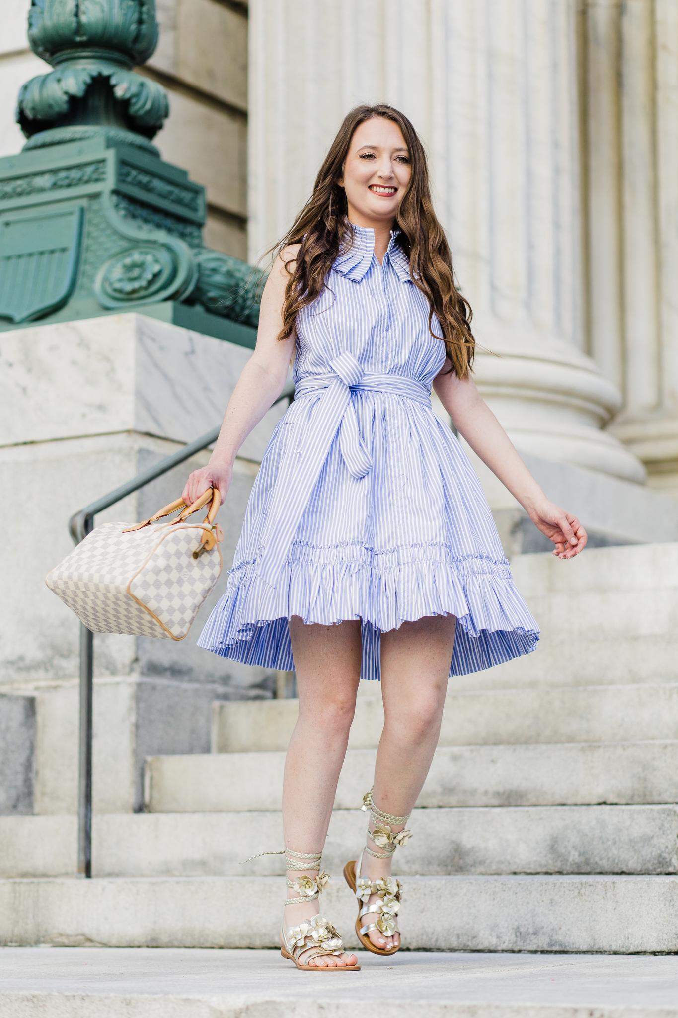 Fun and flirty pleated pinstripe dress