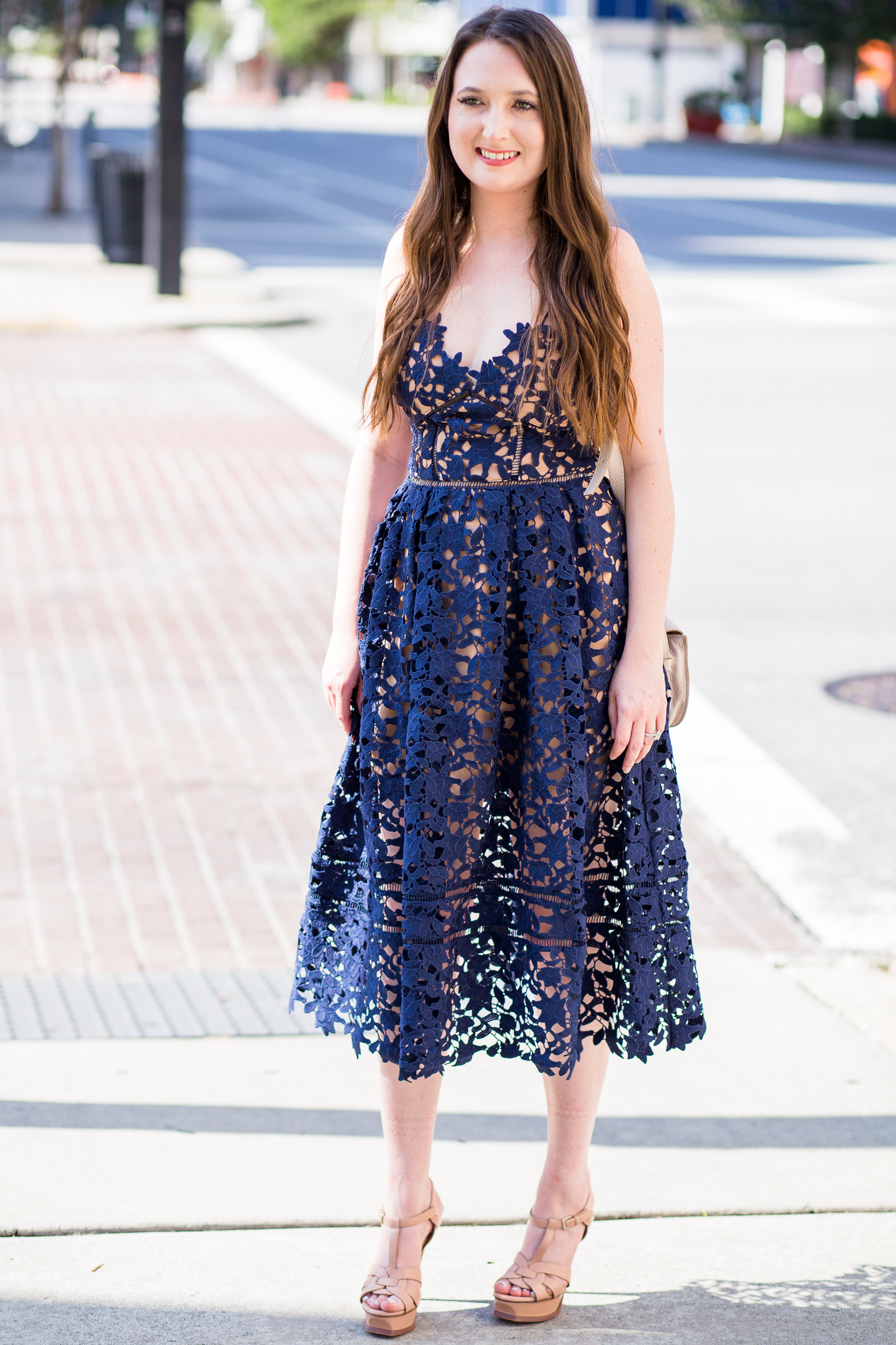 How to transition your summer wardrobe into fall, fall outfit, self portrait, self portrait azaelea, ysl tribute, Chloe marcie mini, navy lace dress, fall dresses, blanknyc jacket,