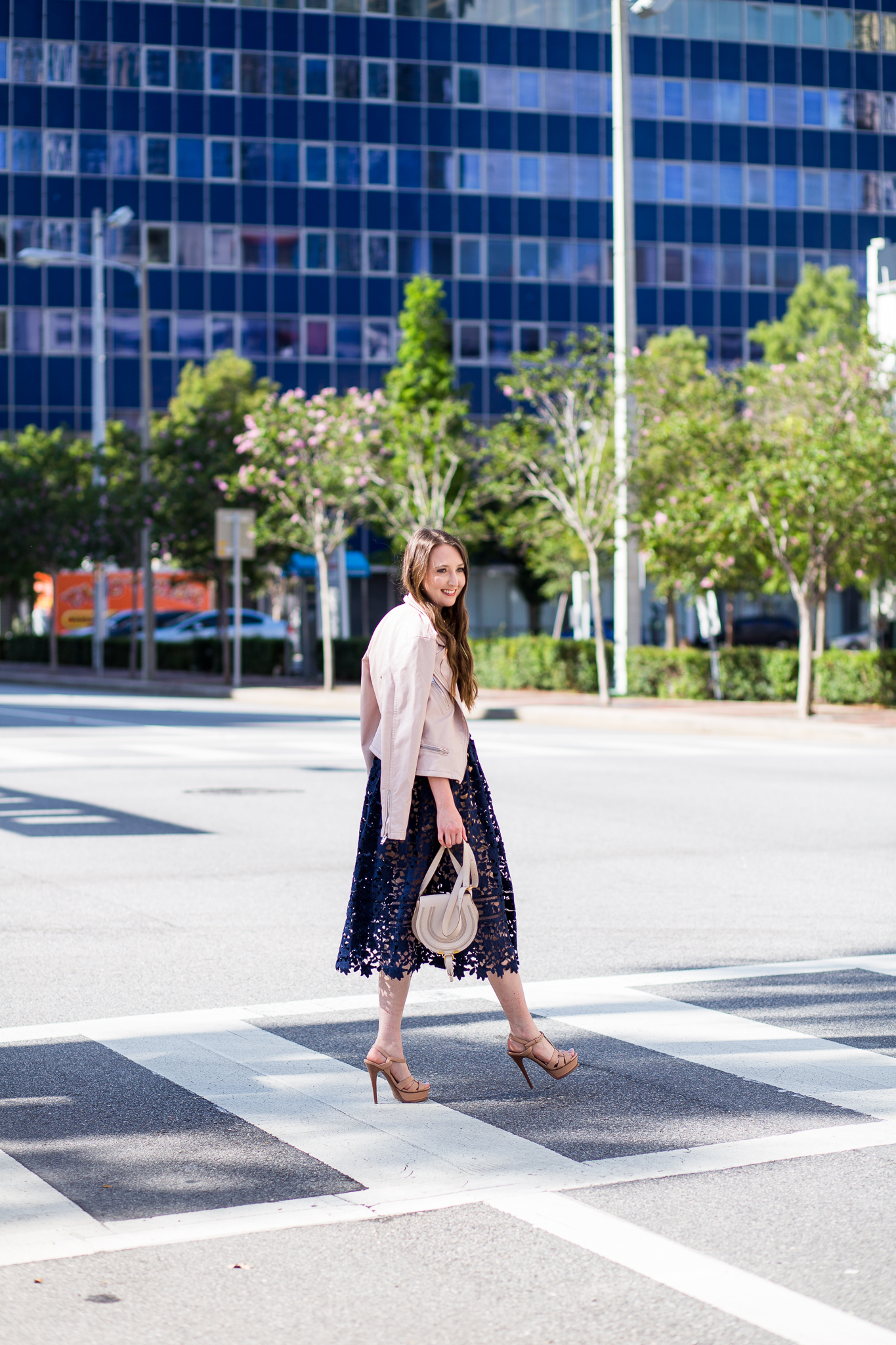 How to transition your summer wardrobe into fall, fall outfit, self portrait, self portrait azaelea, ysl tribute, Chloe marcie mini, navy lace dress, fall dresses, blanknyc jacket