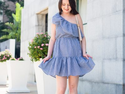 Going gingham in a one shoulder dress, gingham, gingham dress, gingham one shoulder, revolve dress, MinkPink Wanderer one shoulder, Chloe Marcie Mini, tory Burch dandy espadrille, denim espadrilles, summer fashion