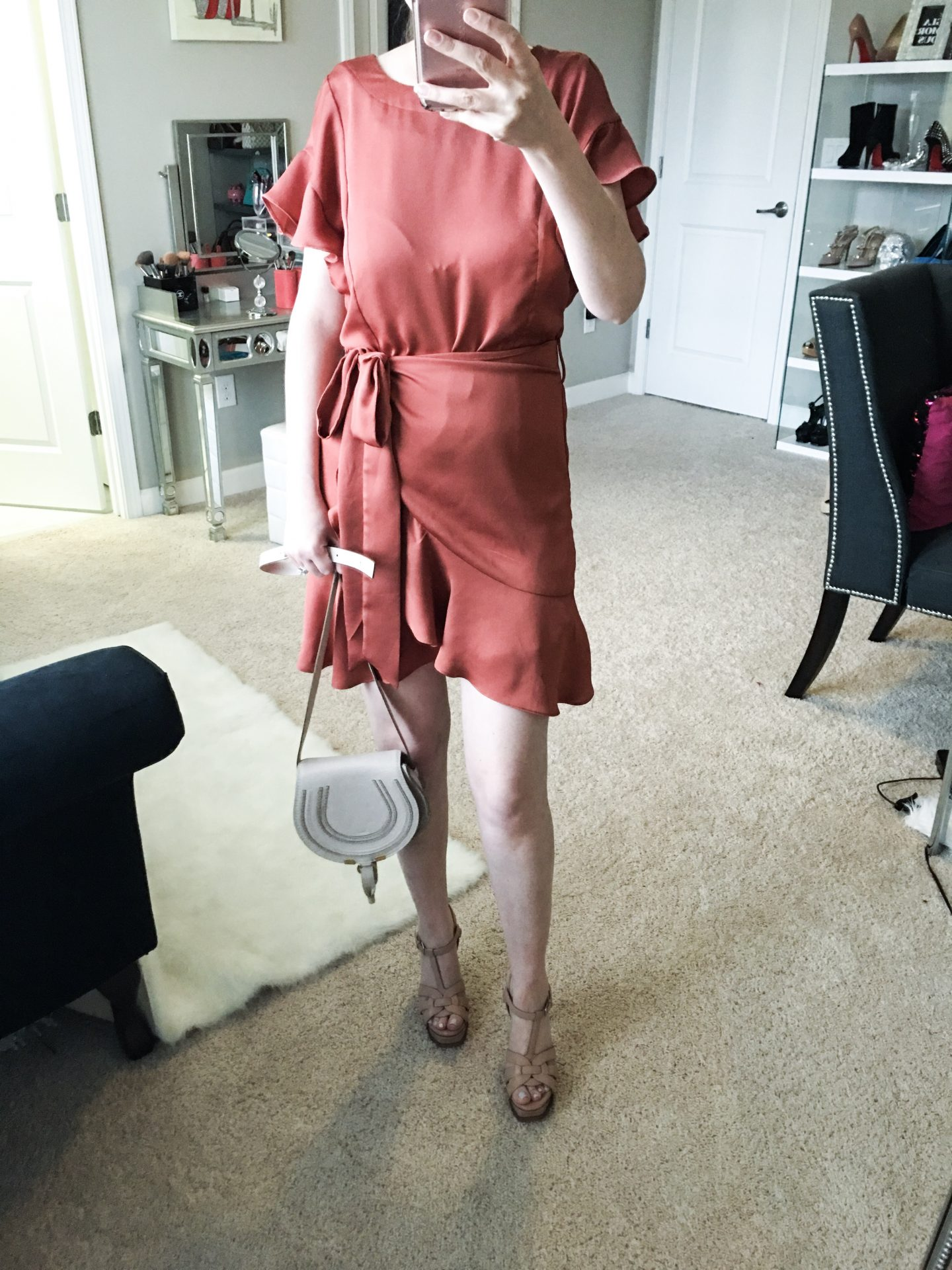 Nordstrom Anniversary sale dressing room diaries, ASTR the label ruffle sleeve satin dress, Chloe mini marcie leather crossbody bag, Saint Laurent tribute heels