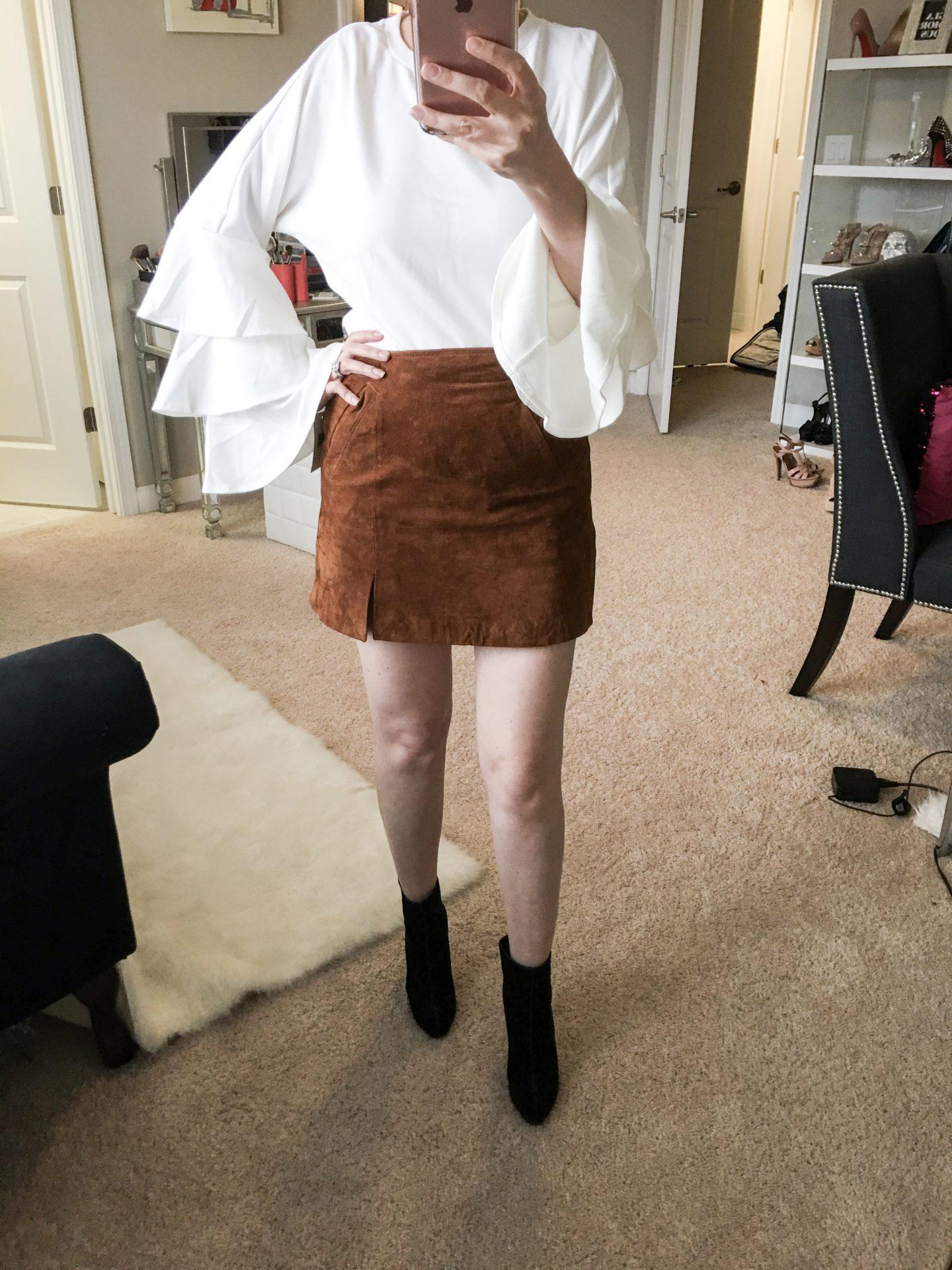 nordstrom anniversary sale: dressing room diaries, BLANKNYC suede mini skirt, Chelsea28 bell sleeve poplin top, Steve madden effect block heel bootie