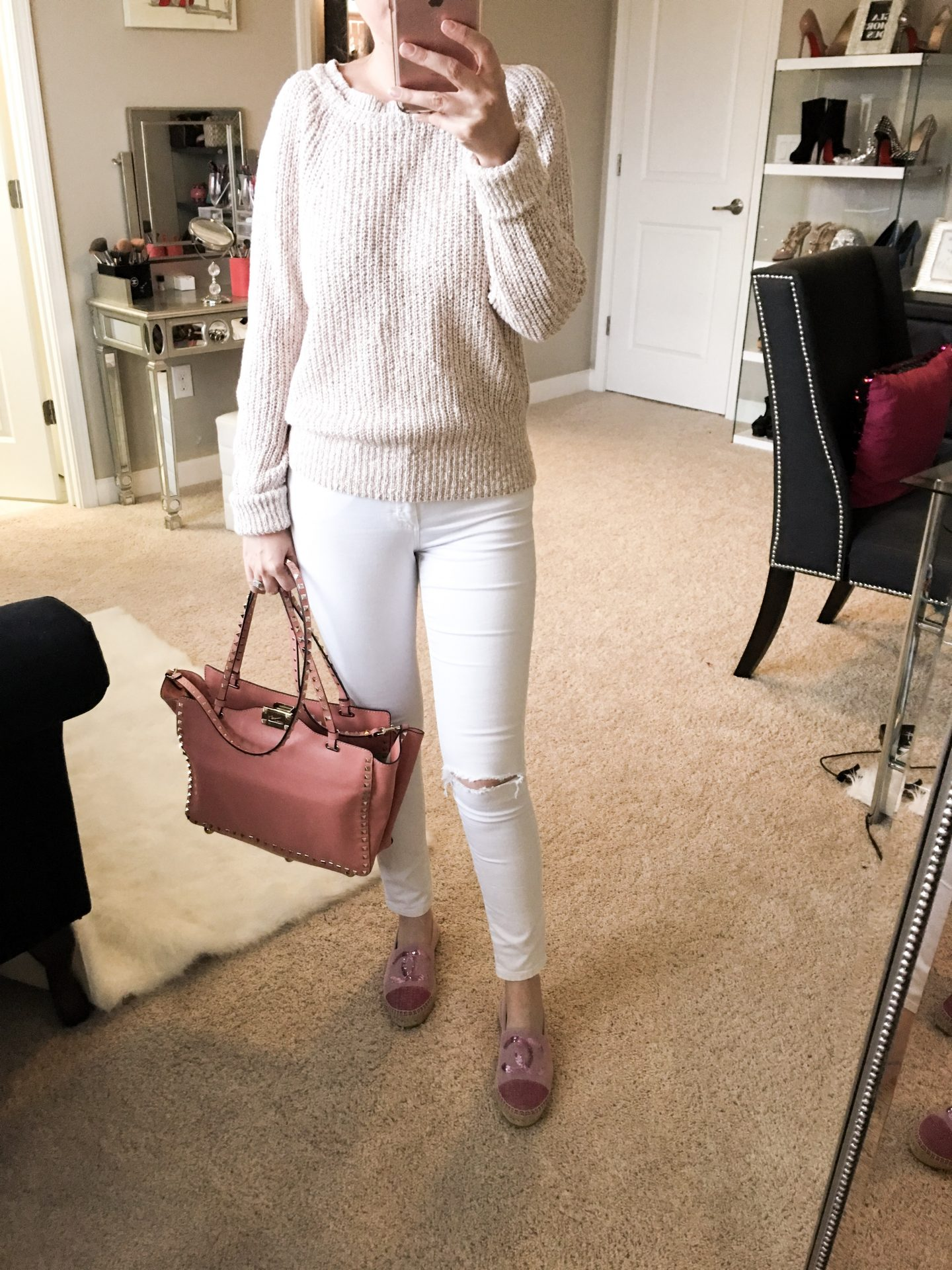 Nordstrom Anniversary sale 2017 dressing room diaries, Free People electric city pullover sweater, TopShop Jamie ripped jeans