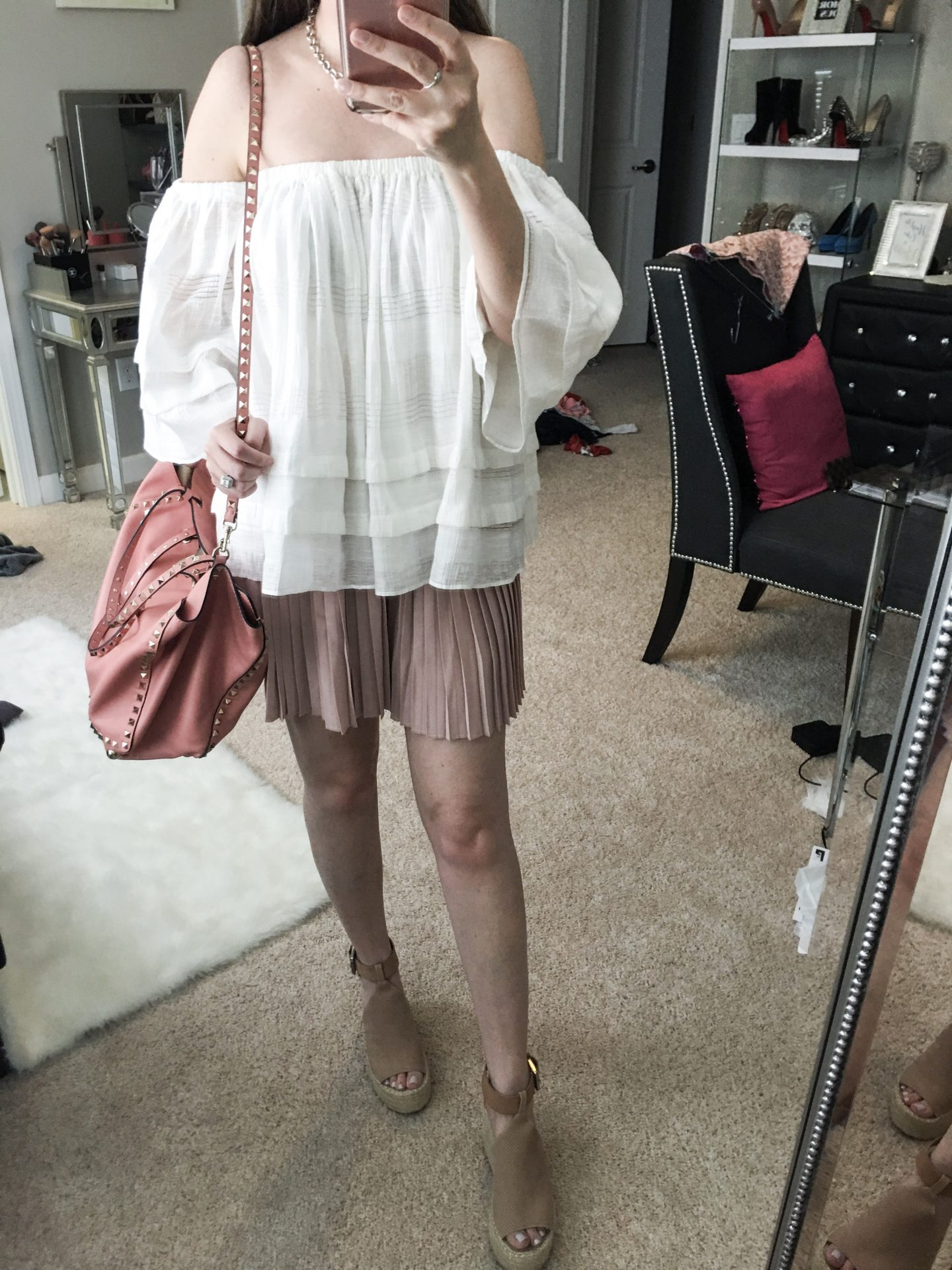 Nordstrom Anniversary dressing room diaries, Leith high wast pleat shorts, J.O.A. ruffle off the shoulder top, Marc Fisher annie perforated wedges