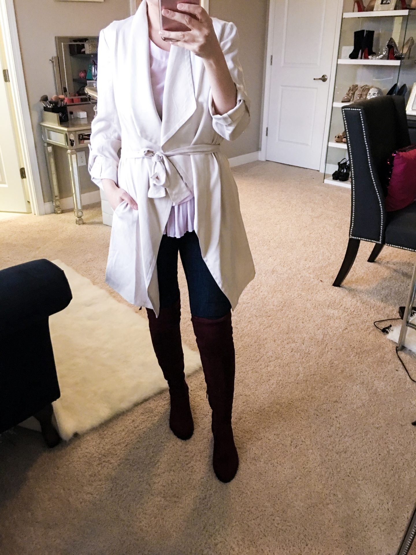 Nordstrom Anniversary sale, Astr the label drapey roll tab sleeve jacket, Vince Camuto boots