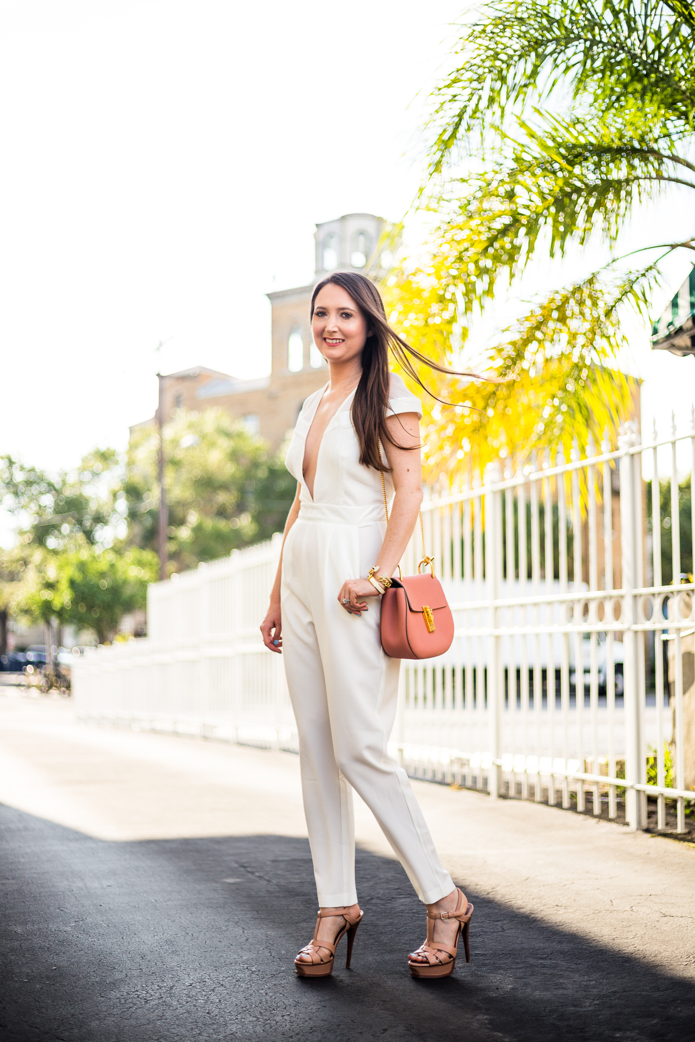 IS WEARING WHITE AFTER LABOR DAY A FASHION FAUX PAS? White jumpsuit, ysl tribute heels, Chloe drew handbag, white outfit, jumpsuit