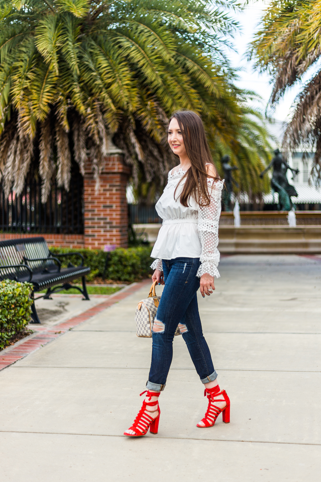 A pop of color with Sam Edelman heels, fashion, red heels, Sam Edelman Yarina sandal, Frame Le skinny de jeanne, Louis Vuitton speedy 25 damier azur, frame denim, casual outfit, Bardot top,
