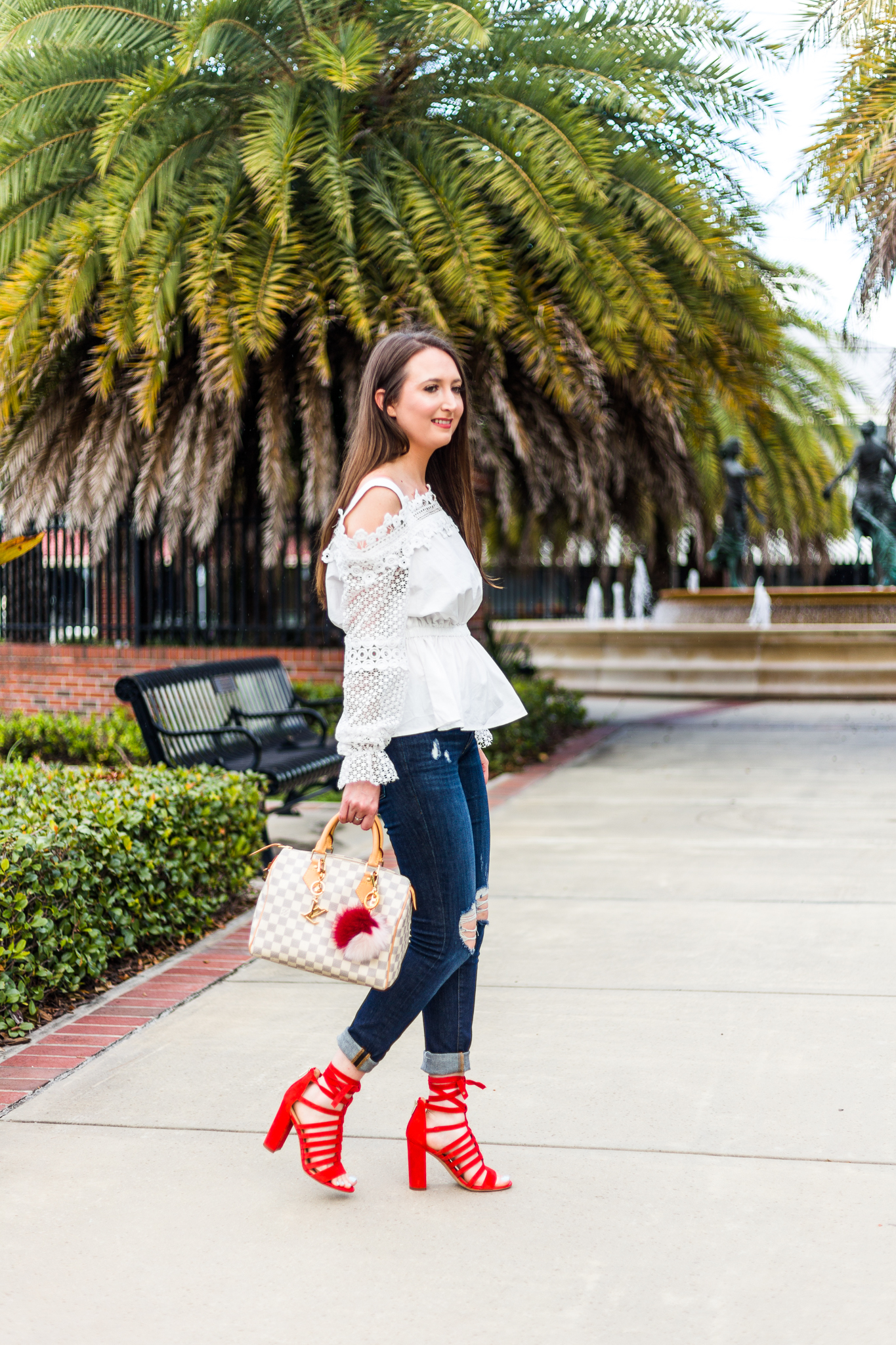 A pop of color with Sam Edelman heels, fashion, red heels, Sam Edelman Yarina sandal, Frame Le skinny de jeanne, Louis Vuitton speedy 25 damier azur, frame denim, casual outfit, Bardot top