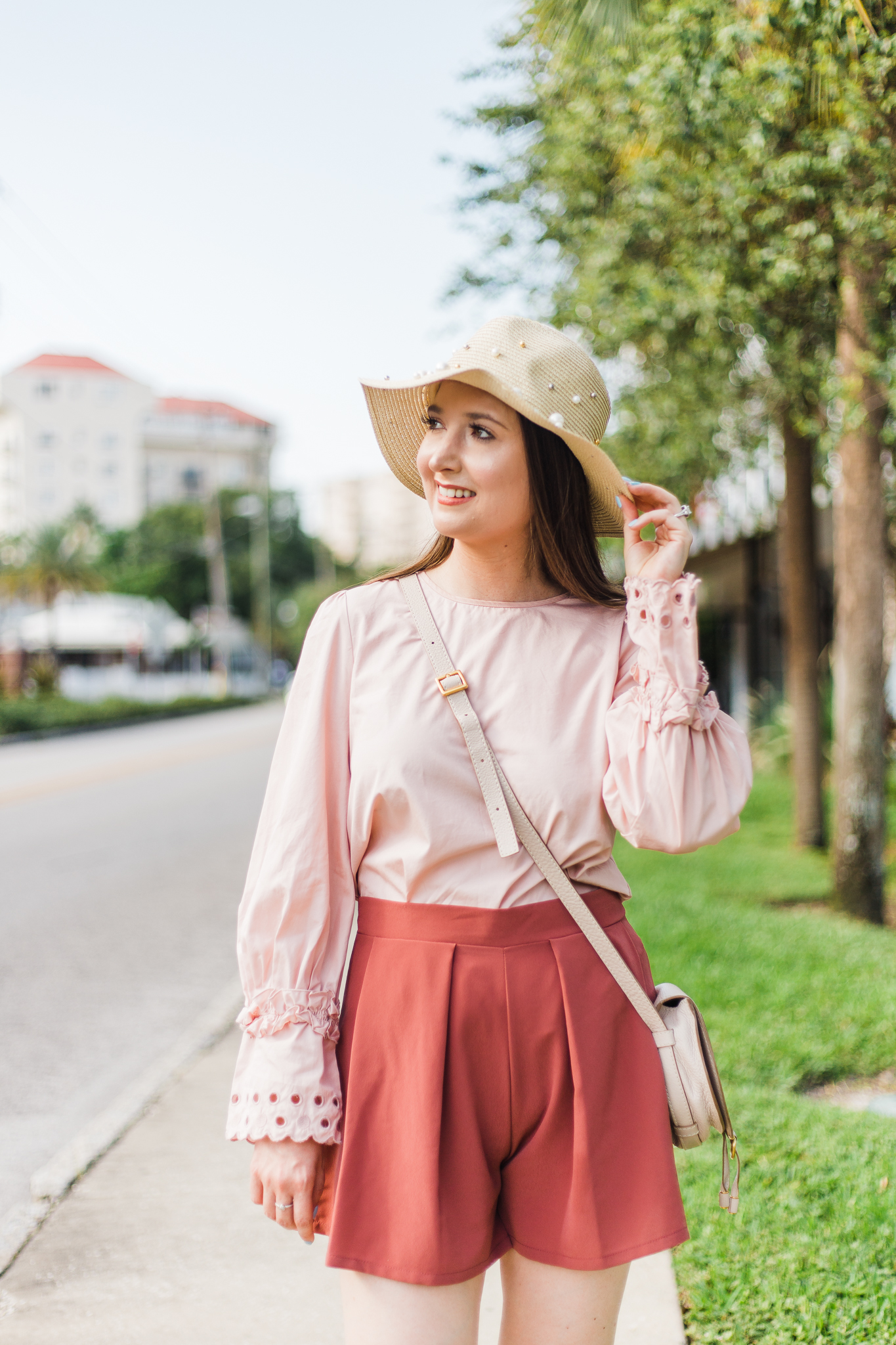 Shades of pink, pearls, and Chanel | Chanel espadrilles, pink outfit, pearl hat, Chanel, chanel pink espadrilles, pearl trend, Chloe marcie mini, pink shorts, eyelet