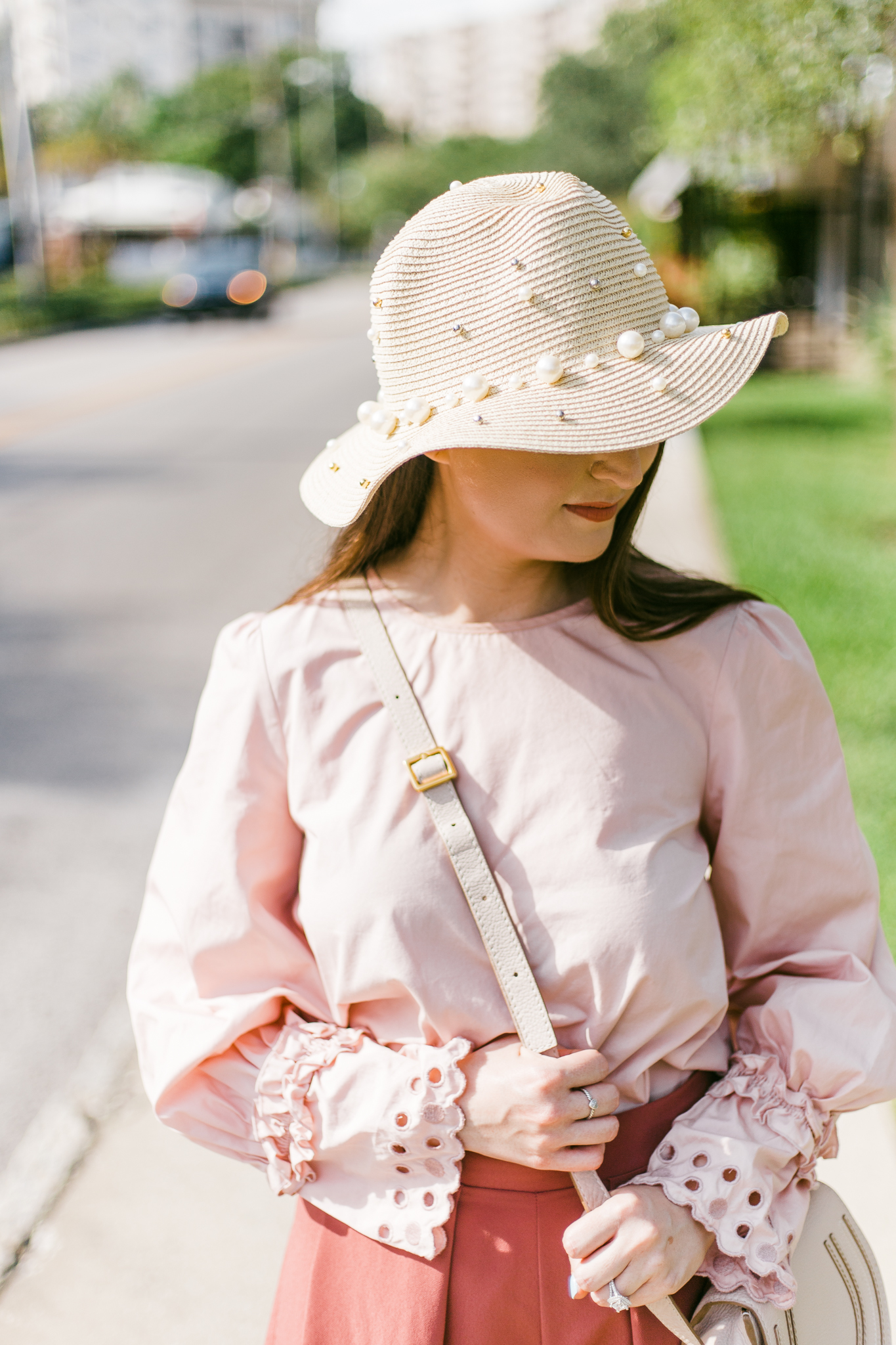 Shades of pink, pearls, and Chanel| Chanel espadrilles, pink outfit, pearl hat, Chanel, chanel pink espadrilles, pearl trend, Chloe marcie mini, pink shorts, eyelet