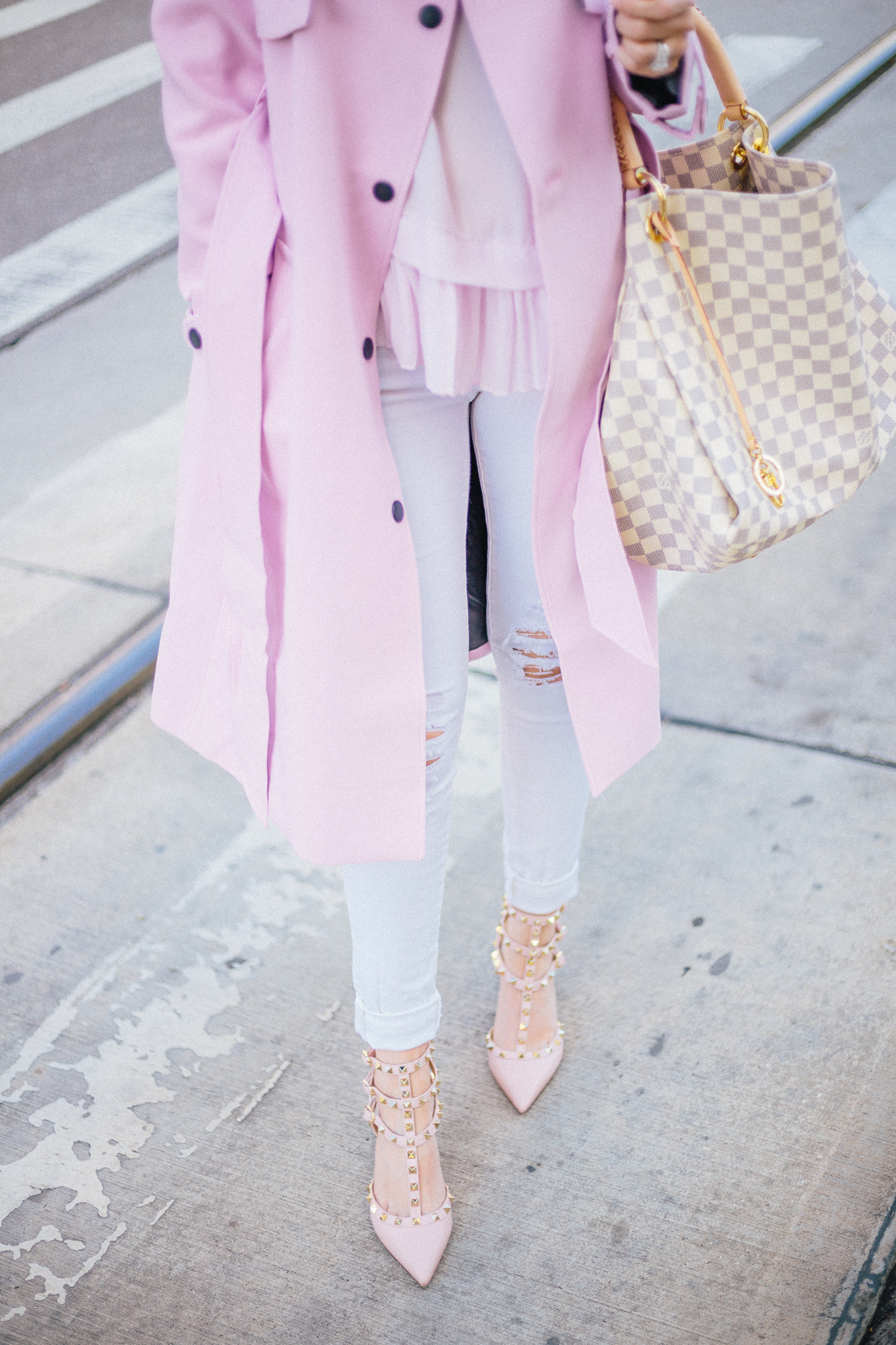 How to wear pastels in fall and winter| wear pastels, pastels, pink coat, pink Valentino rockstuds, Valentino rockstuds, Valentino shoes, Valentino kitten heels, Louis Vuitton artsy. artsy damier azur, white ripped jeans, white fall fashion, fall fashion, asos coat, Nordstrom top