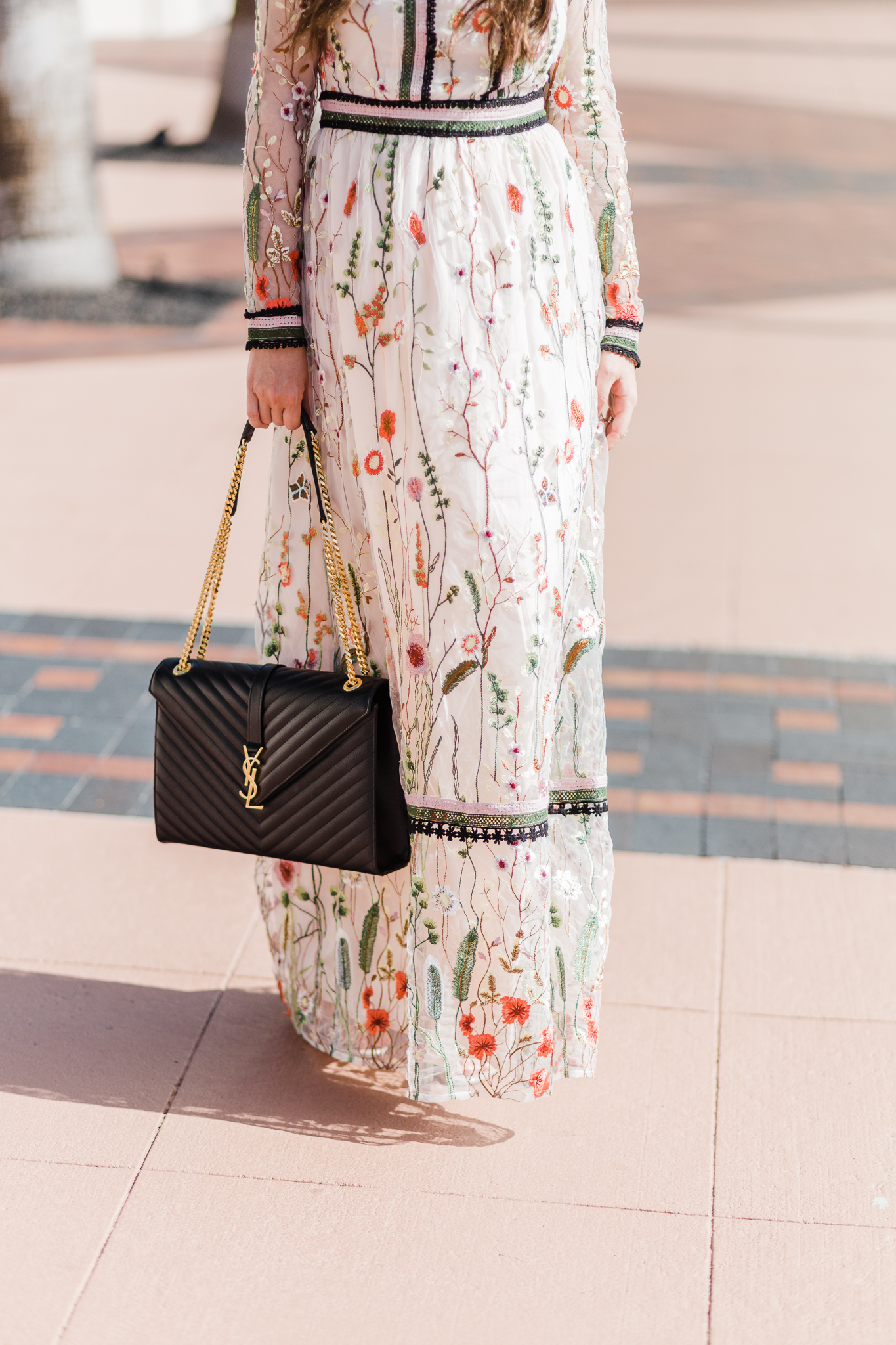 What to wear to a Fall or Winter wedding| fall dress, wedding guest dress, maxi dress, miss Selfridge embroidered maxi dress, saint laurent bag, saint laurent large monogram shoulder bag, what to wear, christinabtv, embroidered dress, fall wedding