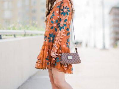 WHAT TO WEAR: FALL FASHION INSPIRATION| free people dress, free people hearts are wild mini dress, Vionic Ronnie bootie, vionic shoes, Louis Vuitton, fall outfit, fall dress, fashion inspiration
