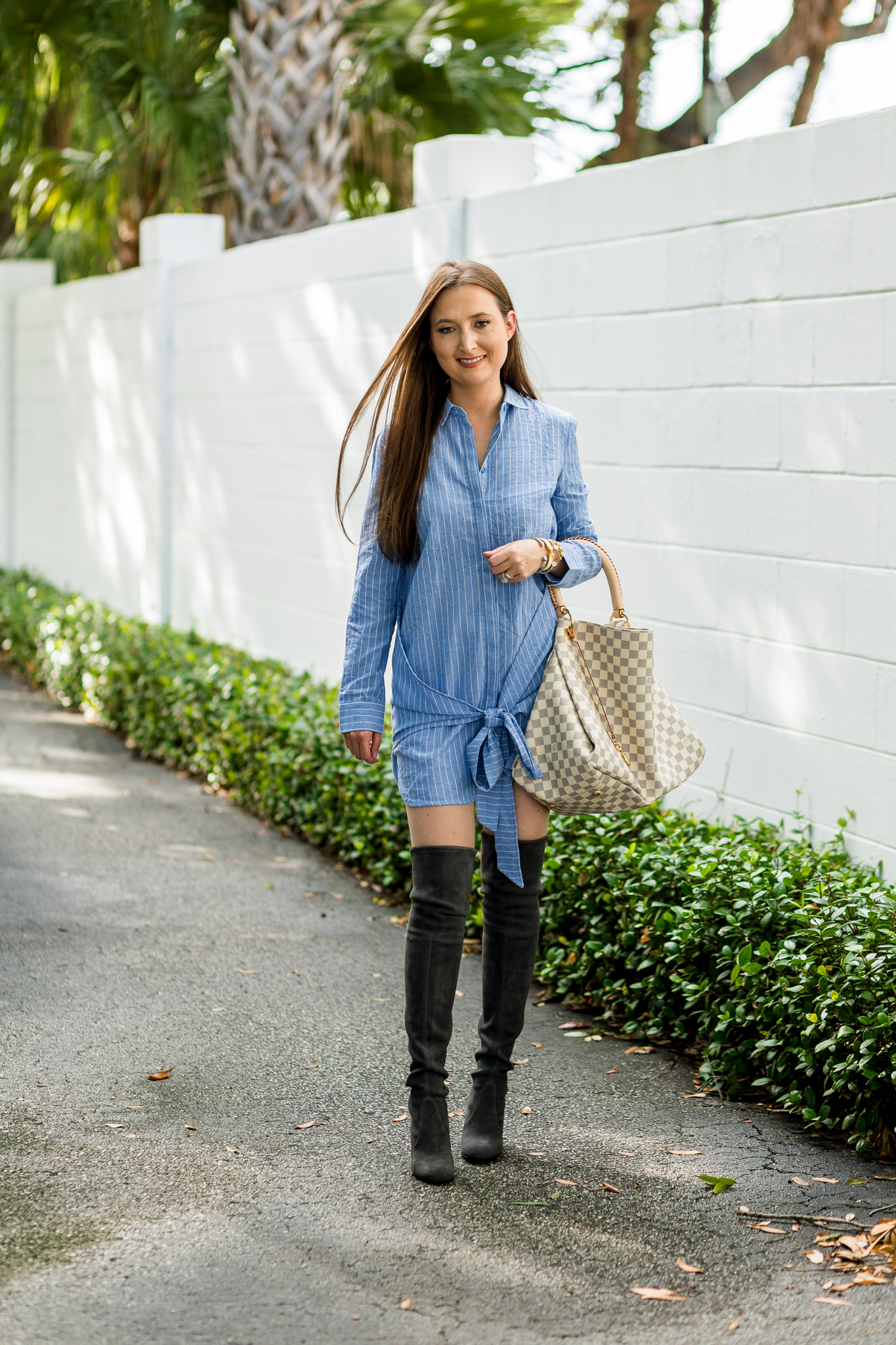 Pinstripe Dress And Over The Knee Boots Christinabtv