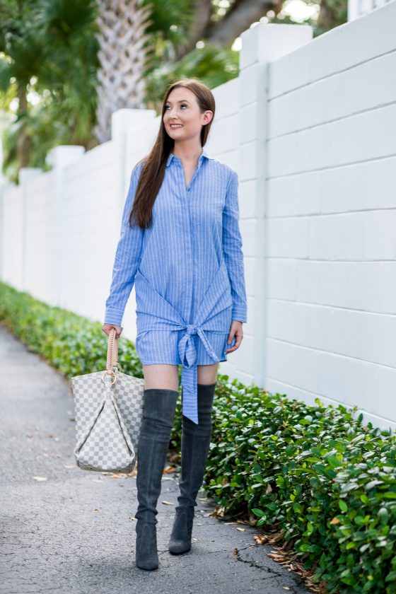 Pinstripe dress and over the knee boots