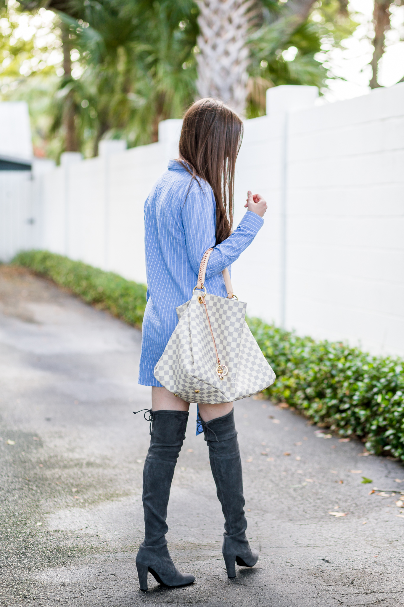 Pinstripe dress and over the knee boots, tie shirt dress, shirtdress, over the knee boots, Stuart weitzman over the knee boots, Stuart weitzman highland, Stuart weitzman hipline, pinstripe dress, fall outfit, Louis Vuitton artsy damier azur