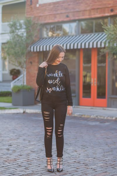The best holiday sweater (for 32 dollars!)| holiday sweater, sequin sweater, asos sweater, frame denim, black distressed denim, black ripped jeans, saint Laurent shoulder bag, ysl bag, Valentino rockstud noir, fall fashion, fall fashion inspiration, frame le color rip skinny jeans, new look twinkle and sparkle sweater