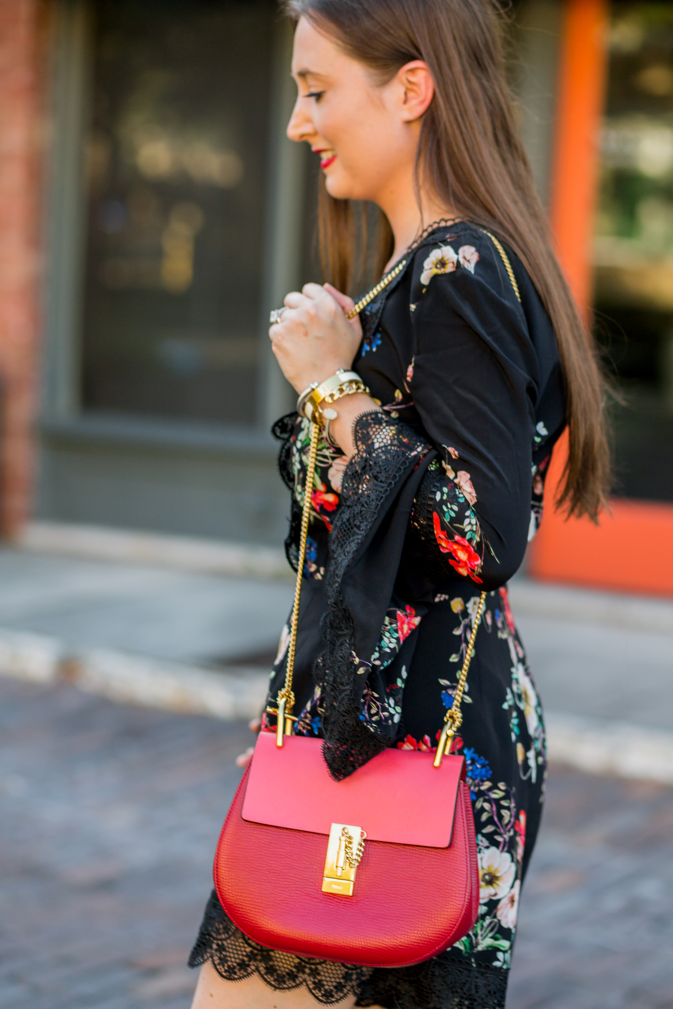 Holiday Festive Outfit Idea for the Southern Woman| Chloe drew red, holiday outfit, christian louboutin booties, fall fashion, romper, black floral romper, black suede booties