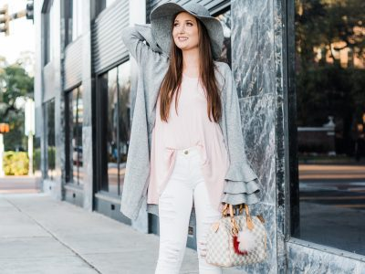 Pink and grey outfit with ruffle sleeves, pink and grey outfit, Soprano ruffle sleeve longline cardigan, Free People January Tee, Frame denim le color rip skinny jeans, Halogen wool floppy hat, Aquazzura Belgravia pump, Louis Vuitton speedy 25, white ripped jeans, grey ruffle cardigan