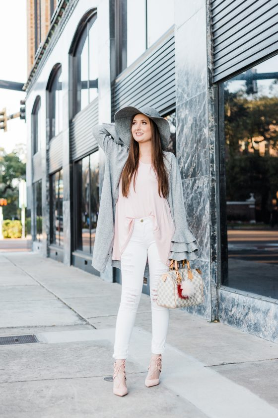 Pink and grey outfit with ruffle sleeves