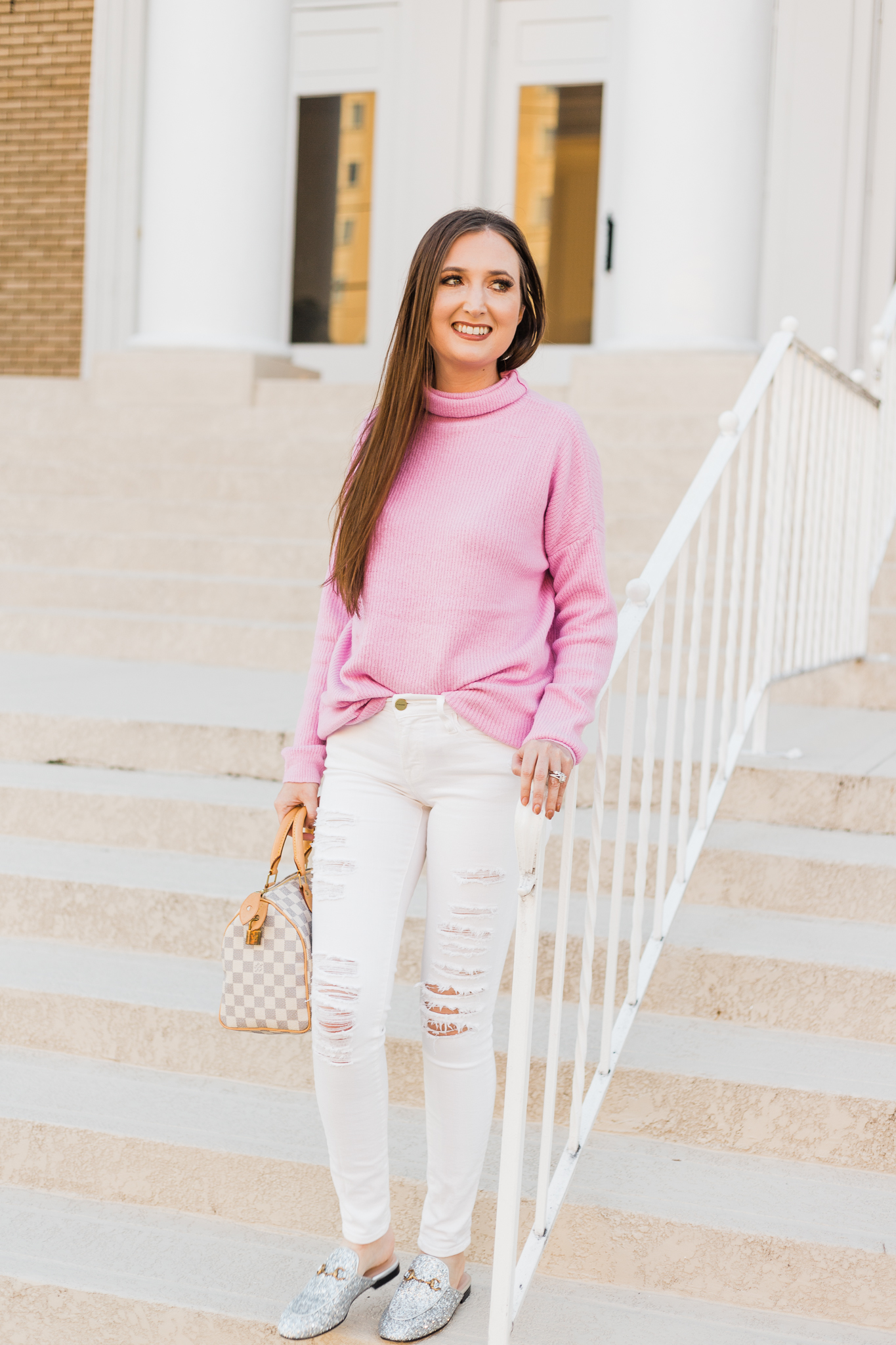 cute winter outfits, best stores to shop for cute winter outfits, asos pink sweater, gucci glitter mules, pink and white outfit