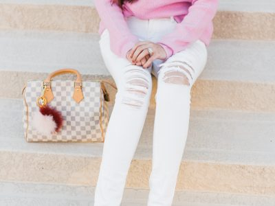 Pink oversized sweater, pink oversized sweater style inspiration, pink sweater, pink fluffy sweater, Gucci mules, Gucci glitter mules, white jeans, white ripped jeans, mules, pink and white outfit, Louis Vuitton speedy 25, pastel pink sweater,