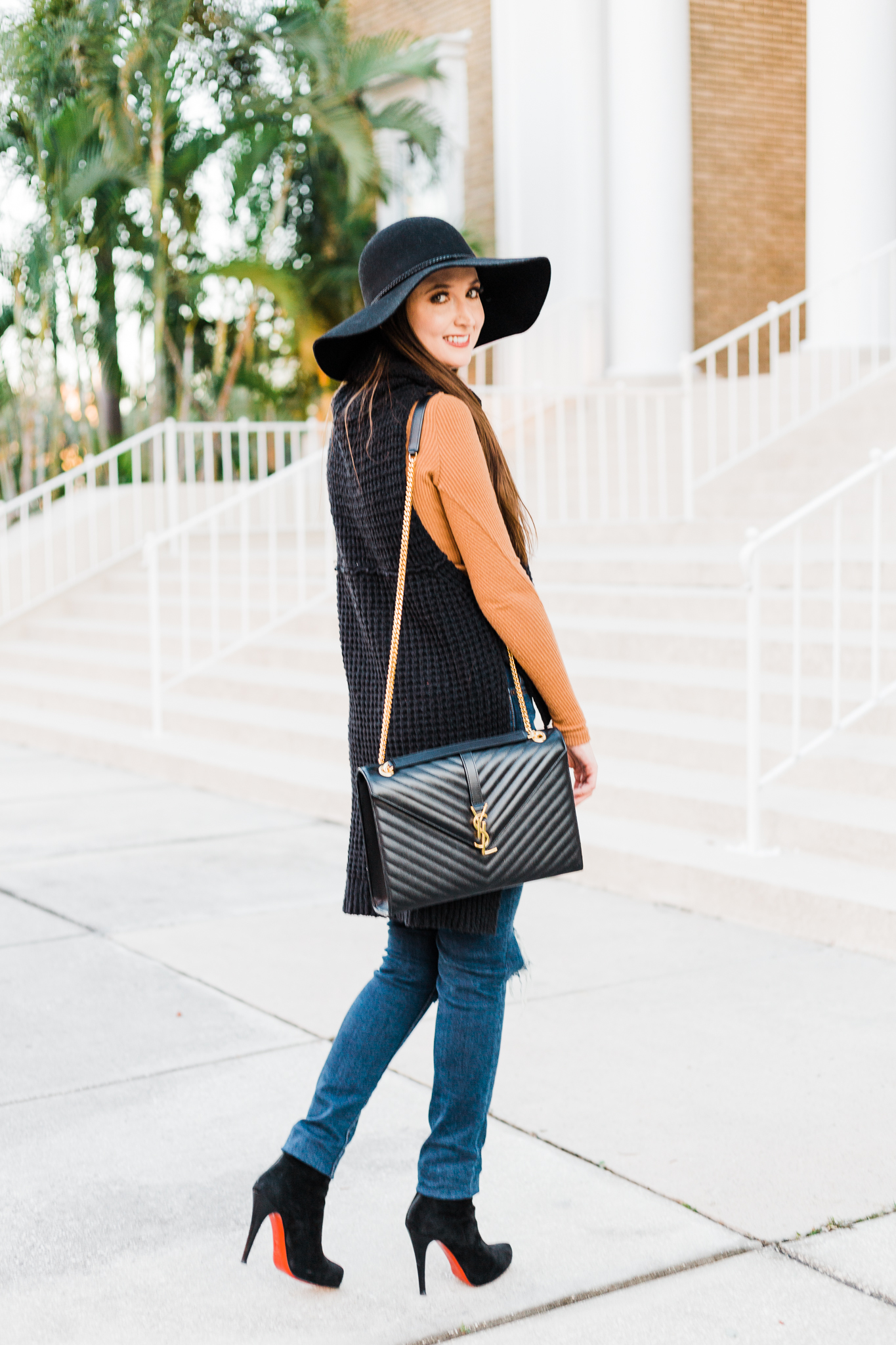 Hi-low sweater and layers for fall, Hi low Sweater, Free People Skycraper Sweater, BP strappy ribbed top, Levi's 721 skinny jeans, Halogen wool floppy hat, Saint Laurent Large Monogram shoulder bag, louboutin booties