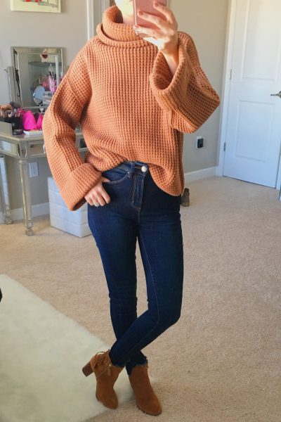 November Instagram Outfits Recap| free people park city pullover, AFRM jeans, vionic Ronnie bootie